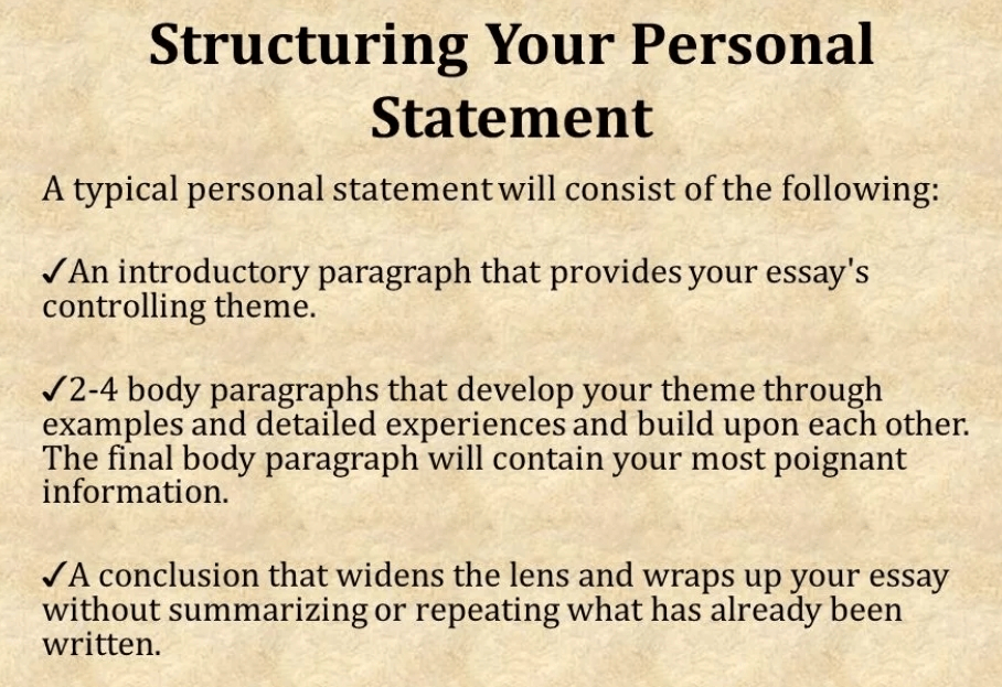 structure of personal statement on child nursing